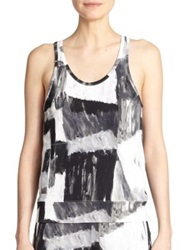 Norma Kamali Abstract Print Racerback Performance Tank Paint Canvas