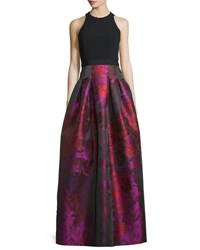 Carmen Marc Valvo Sleeveless Crepe And Floral Taffeta Ball Gown Fuchsia