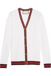 Gucci Striped Wool Cardigan Ivory
