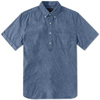 Beams Plus Short Sleeve Popover Chambray Shirt Blue