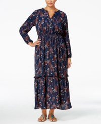 Ny Collection Plus Size Printed Maxi Peasant Dress Navy Daisy