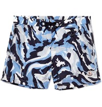 Moncler Camouflage Print Mid Length Swim Shorts Blue
