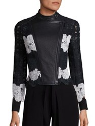 Yigal Azrouel Two Tone Lace And Leather Moto Jacket Jet Multi