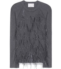 Jason Wu Skye Feather Embellished Wool And Silk Blend Sweater Grey