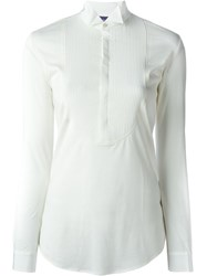Ralph Lauren Purple Pleated Bib Blouse Nude And Neutrals
