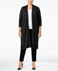 Alfani Plus Size Knee Length Cardigan Only At Macy's Deep Black
