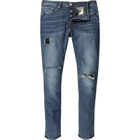 River Island Mens Mid Wash Ripped Danny Super Skinny Jeans