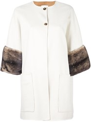 Agnona Mink Fur Cuff Coat White
