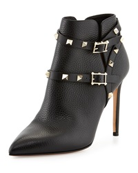 Valentino Rockstud Point Toe Studded Harness Ankle Boot Black