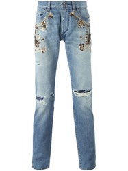 Dolce And Gabbana Embroidered Embellished Jeans Blue