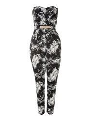 Lipsy Printed Bandeau Jumpsuit Black White