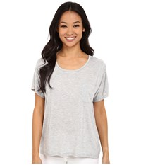 Lilla P Warm Viscose Short Sleeve Pocket Tee Heather Grey 2 Women's T Shirt Gray
