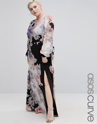 Asos Curve Maxi Dress In Dark Floral Print With Long Sleeve Multi