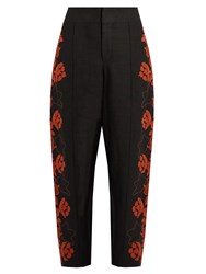Chloe Floral Embroidered High Rise Linen Trousers Black