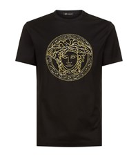 Versace Embroidered Sequin T Shirt Male Black