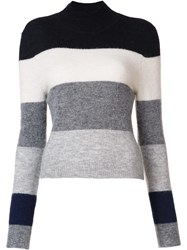 Equipment Turtleneck Striped Jumper Grey