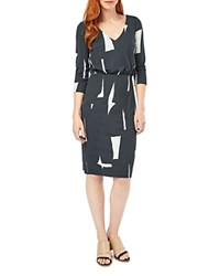 Phase Eight Costa Rica Printed Dress Charcoal Ivory