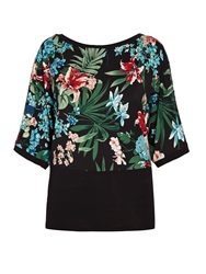 Morgan Floral Top With Plain Bottom Layer Green