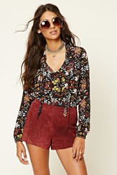 Forever 21 Tie Neck Ornate Print Bodysuit