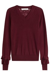 Philosophy Di Lorenzo Serafini Wool V Neck Pullover With Ruffled Cuffs Red