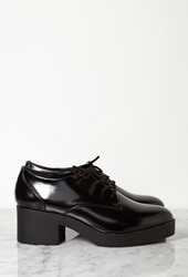 Forever 21 Patent Faux Leather Heeled Oxfords Black