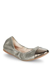 Cole Haan Cortland Patent Leather And Metallic Leather Cap Toe Flats Ironstone