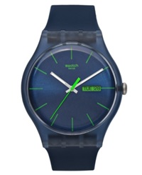 Swatch Watch Unisex Swiss Blue Rebel Blue Silicone Strap 41Mm Suon700