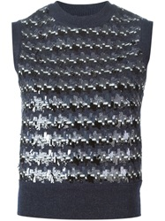 Marc Jacobs Intarsia Embellished Sweater Blue