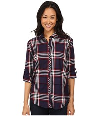 Kut From The Kloth Tabitha Navy Red Women's Long Sleeve Button Up Multi