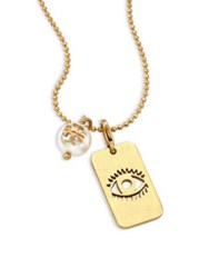 Tory Burch Evil Eye Faux Pearl Charm Pendant Necklace Gold