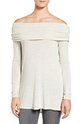 Matty M Women's High Low Hem Knit Off The Shoulder Top Pearl Grey