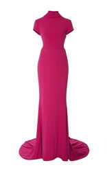 Elizabeth Kennedy High Neck Cap Sleeve Gown Pink
