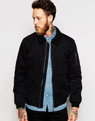 Only And Sons Flight Jacket With Sherpa Collar Black