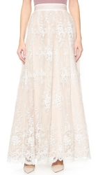 Alice Olivia Carter Flare Ball Gown Skirt White Nude