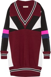 Emilio Pucci Oversized Color Block Merino Wool Sweater Dress Burgundy