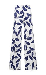 Marni Electric Blue Printed Leaf Trouser