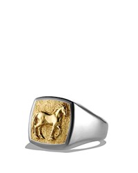 David Yurman Petrvs Horse Pinky Ring With 18K Gold Gold Silver