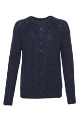 French Connection Men's Ridge Cable Knits Jumper Blue