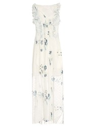 See By Chloe Sleeveless Fil Coupe Floral Print Dress White Multi