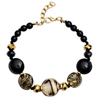 Martick Candy Cane Swirl Murano Glass And Crystal Bracelet Black Gold