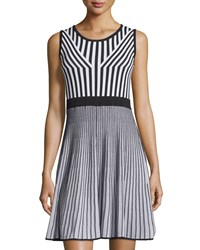 Carmen Carmen Marc Valvo Sleeveless Striped Double Knit A Line Dress Black Bleach
