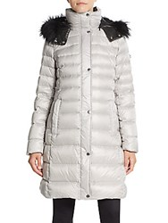 Marc New York Fur Trimmed Down Jacket Silver