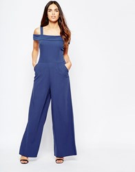 Wal G Jumpsuit With Bardot Neckline Navy