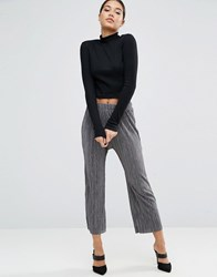 Asos Wide Leg Pleated Plisse Trousers With Raw Hem Grey
