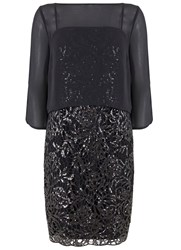 Mint Velvet Charcoal Layered Sequin Dress Grey