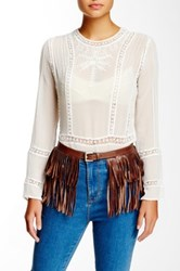 Streets Ahead Italian Leather Fringe Belt Brown