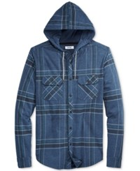 Univibe Men's Men's Plaid Long Sleeve Hoodie Shirt Indigo Heather
