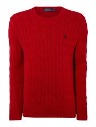 Polo Ralph Lauren Cable Knit Cotton Jumper Red