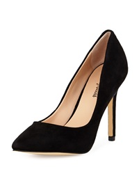 Neiman Marcus Prestige Suede Pointed Toe Pump Black