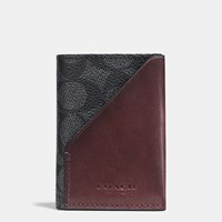 Coach Slim Card Wallet In Signature Coated Canvas Charcoal Oxblood